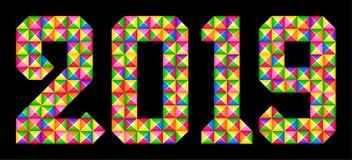 Glad jul och lyckligt nytt år Den geometriska färgrika mosaiken numrerar 2019 royaltyfri illustrationer