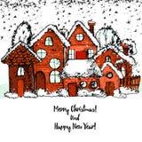 Glad jul och lyckligt nytt år, dragen hand Arkivbild