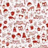 Glad jul och lyckligt nytt år 2017 Dragen sömlös modell för julsäsong hand också vektor för coreldrawillustration Klottra stil Royaltyfri Foto
