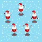 Glad jul och lyckligt nytt år, fem Santa Claus Do många gester royaltyfri illustrationer