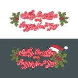 Glad jul och lyckligt nytt år ferie royaltyfri illustrationer