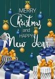 Glad jul och lyckligt nytt år Festligt kort med gåvor vektor illustrationer