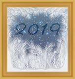 Glad jul och lyckligt nytt 2019 år frostat fönster vektor illustrationer