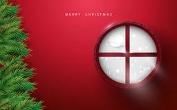 Glad jul och lyckligt nytt år gran förgrena sig trädet och vinterlandskap i cirkelfönster på röd bakgrund stock illustrationer