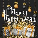 Glad jul och lyckligt nytt år Guld vektor illustrationer