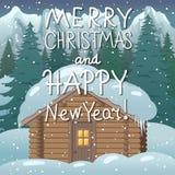 Glad jul och lyckligt nytt år Illustration med ett hus i en skog royaltyfri illustrationer