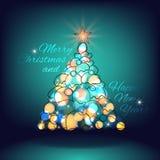 Glad jul och lyckligt nytt år jul min version för portföljtreevektor Arkivbilder