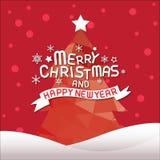 Glad jul och lyckligt nytt år, julgran Arkivbild