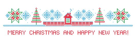 Glad jul och lyckligt nytt år kant Arg häftklammer arkivfoto