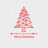 Glad jul och lyckligt nytt år, linje Minimalist stilhälsningkort, härlig elegant design, vektorillustration Royaltyfri Foto