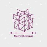 Glad jul och lyckligt nytt år, linje Minimalist stilhälsningkort, härlig elegant design, vektorillustration Royaltyfria Bilder
