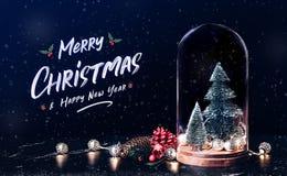 Glad jul och lyckligt nytt år med mistel- och gåvaask I arkivbild