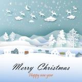 Glad jul och lyckligt nytt år med papperskonst royaltyfri illustrationer