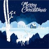 Glad jul och lyckligt nytt år med ren som två ner ser till en by med ljus och snöar på natten Juladvertis vektor illustrationer