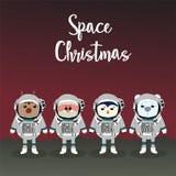 Glad jul och lyckligt nytt år med renen, jultomten och coll royaltyfri illustrationer
