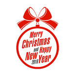 Glad jul och lyckligt nytt år på en vit Fotografering för Bildbyråer