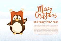 Glad jul och lyckligt nytt år, pingvin i hatt vektor illustrationer