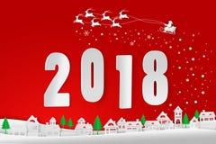 Glad jul och lyckligt nytt år 2018, Santa Claus Arkivbild