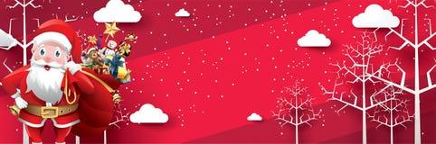 Glad jul och lyckligt nytt år Santa Claus med en säck av gåvor i julsnöplats pos. för kort för vektorillustrationhälsning stock illustrationer