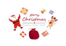 Glad jul och lyckligt nytt år, Santa Claus, ren och gi stock illustrationer
