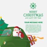 Glad jul och lyckligt nytt år Santa Drive Car Arkivfoto