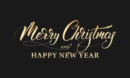 Glad jul och lyckligt nytt år Skinande guld- märka kalligrafi för vinterferier vektor illustrationer