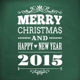Glad jul och lyckligt nytt år 2015 skriver på chlakboard stock illustrationer