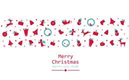 Glad jul och lyckligt nytt år som är minsta, tappning, garnering vektor illustrationer