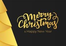 Glad jul och lyckligt nytt år som märker på en svart bakgrund med garneringar av en guld- folie Vykort för vinterferier i mo royaltyfri illustrationer