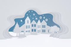 Glad jul och lyckligt nytt år, stads- bygdlandskap för snö, stadsby med kopieringsutrymme stock illustrationer