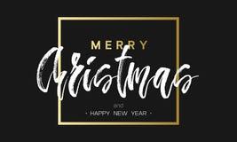 Glad jul och lyxsvart för lyckligt nytt år och guld- design Guld- bokstävermall för din baner eller reklamblad royaltyfri illustrationer