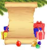Glad jul och mellanrumssnirkeln för lyckligt nytt år skyler över brister på vit b Royaltyfri Fotografi