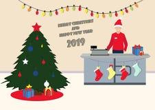 Glad jul och nytt år i supermarket också vektor för coreldrawillustration royaltyfri illustrationer