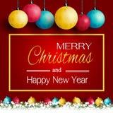 Glad jul och nytt år med härliga lampor och gräs på en röd bakgrund stock illustrationer