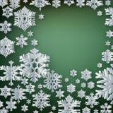 Glad jul och pappers- snöflingor för lyckligt nytt år på röd bakgrund 10 eps stock illustrationer