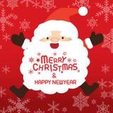 Glad jul och Santa Claus, Xmas-kort Royaltyfria Bilder
