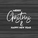 Glad jul och träbakgrund för lyckligt nytt år royaltyfri illustrationer