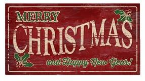 Glad jul och träplatta för lyckligt nytt år Arkivbilder