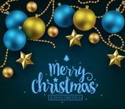 Glad jul och typografi för lyckligt nytt år på blå bakgrund stock illustrationer