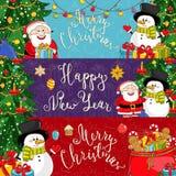 Glad jul och vektorbaner för lyckligt nytt år vektor illustrationer