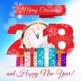 Glad jul och vektorhälsning 2018 för lyckligt nytt år stock illustrationer