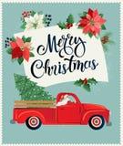 Glad jul och vykort- eller affisch- eller reklambladmall för lyckligt nytt år med den retro pickupet med julträdet stock illustrationer