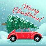 Glad jul och vykort- eller affisch- eller reklambladmall för lyckligt nytt år med det röda retro biljulträdet på taket stock illustrationer