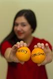 Glad jul på apelsiner Arkivfoto