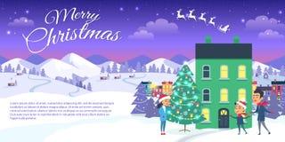 Glad jul på bakgrund för stad och för blå himmel royaltyfri illustrationer