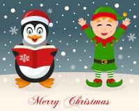 Glad jul - pingvin & gullig grön älva royaltyfri illustrationer