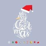 Glad jul planlägger med typografi och extra objekt Arkivfoton