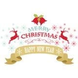 Glad jul planlägger, snöflingor, jul Klocka, renen, banret, det lyckliga nya årets dekorativa kort stock illustrationer