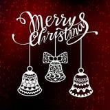 Glad jul planlägger text för laser-klipp Calligraphic inskrift för nytt år, dekorerad vinterbeståndsdel Goda för royaltyfri illustrationer
