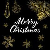Glad jul! Räcka utdragna grafiska beståndsdelar och bokstäver i guld-/svartfärger Royaltyfri Foto